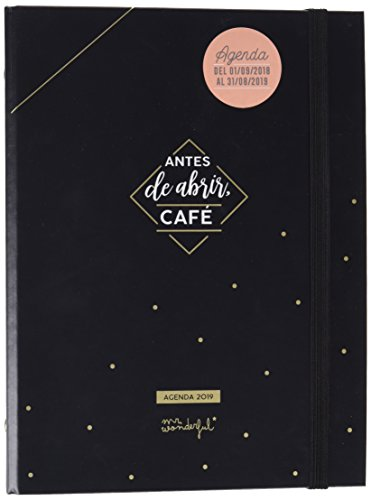 Mr. Wonderful - Agenda escolar negra con anillas 2018-2019 semana vista - Antes de abrir café