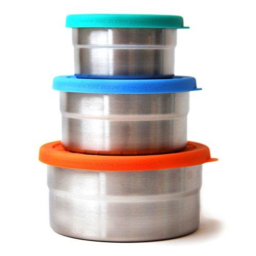 ECOlunchbox Blue Water Bento | Seal Cup Trio, Runddosen Set aus Edelstahl mit Silikondeckel | Lunchbox | Brotdose | Bento Box