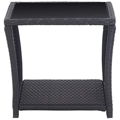 vidaXL Bistroset 3-TLG. mit Auflagen Balkonset Sitzgruppe Gartenmöbel Balkonmöbel Gartenset Garnitur Tisch Stühle Poly Rattan Schwarz - 8