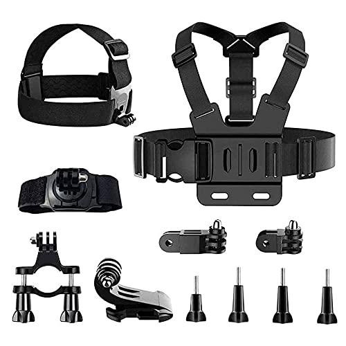 11 Pezzi Kit di Accessori per Action Camera, Supporto per Bici per Action Cam, Cinghia Testa Accessori per Action Cam, Supporto Fotocamera Sportiva Fascia Toracica, per Riprese Sportive