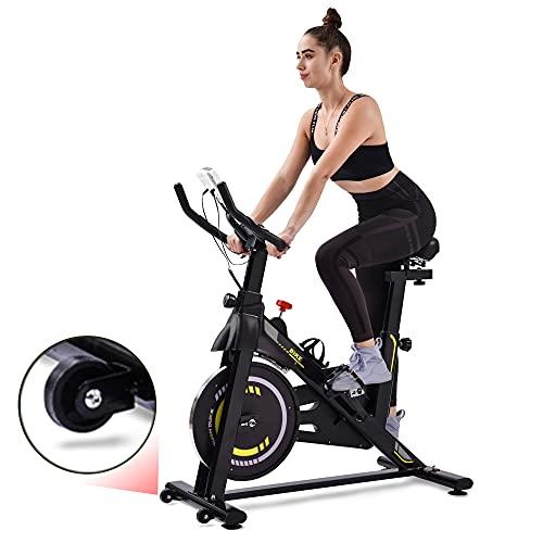 Qweidown Heimtrainer Fahrrad mit LCD-Konsole, Indoor Hometrainer mit Magnetwiderstand | Handpulssensoren | Verstellbarer Sitz & Griffe | Getränkehalter | 2 Räder | Padhalterung | Einstellbare Pedale