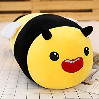 Bee Stuffed Animal Roll Neck Pillow,Soft Cylindrical Bees Plush Body Pillow 23.6
