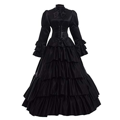 GRACEART Frauen mittelalterlichen viktorianischen Kostüm Vintage Rüschen Fancy Dress mit Krinoline und Gürtel (Schwarz, Small)