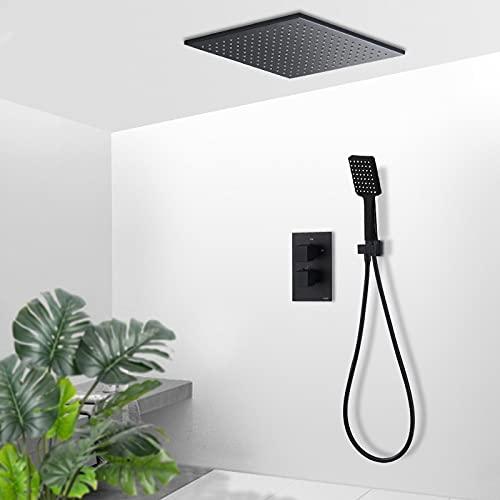 PLUIEX Sistema de Ducha Juego de Grifo termostático de Ducha Orb Negro, Montaje en Techo, Ducha de latón, Grifo Mezclador termostático, Juego de Ducha para bañera, Juego de 8 Pulgadas