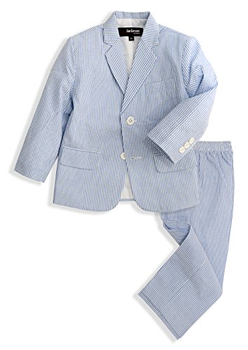 G288 Boys Seersucker 2 Button Suit Set (14, Blue)