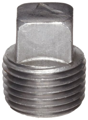 "Anvil 8700159505, Malleable Iron Pipe Fitting, Square Head Plug, 2"" NPT Male, Black Finish"