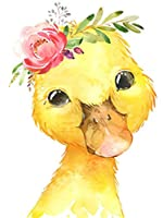 QMGLBG 5Dダイヤモンド塗装かわいい小さな黄色いアヒルの動物のダイヤモンド塗装クリスタル子供の教育工芸品の壁の装飾30*40cm