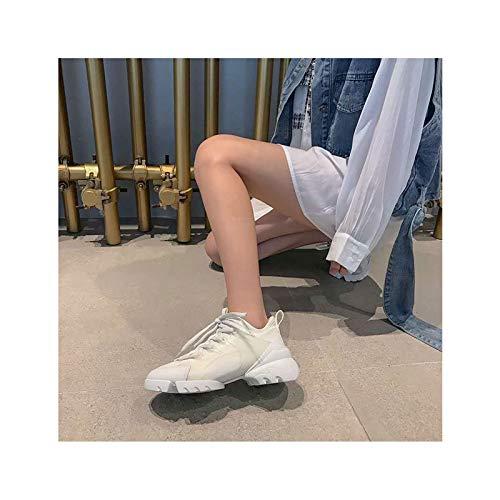 HaoLin Zapatillas para Correr para Mujer Zapatillas de Deporte Zapatos Casual Fitness Cómodo,White-35 EU