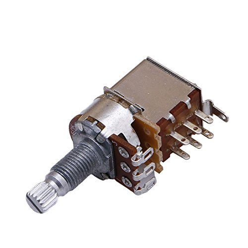 JOYKK B250K Potentiometer Push Pull Schakelaar Splined DPDT Pot Shaft 17mm Elektrische Gitaar Toon Volume Onderdelen - bruin