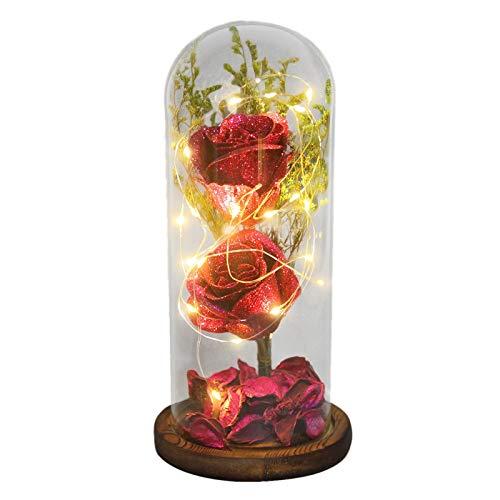 jieGorge Decoración del hogar, La Belleza y la Rosa, Flor encantada con luz LED y Rosas Rojas. Cumpleaños, para el día de San Valentín (F)