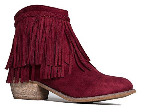 J. Adams Bree Ankle Boot - Western Fringe Cowboy Low Heel Bootie