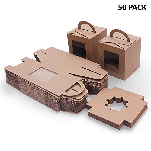 Caja Pasteleria Marrón Kraft (Pack de 50) - Caja Carton Desechable Comida para Llevar con Ventana Transparente (9,39 x 9,39 x 10,66cm) - Caja para Tartas, Cupcake, Rebanada Mini Pastel y Postres