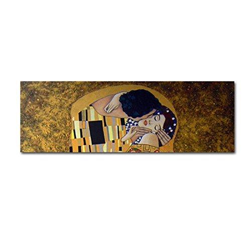 El beso - Cuadro Horizontal pintado a mano decoración – Gustav Klimt, medidas 135x45cm