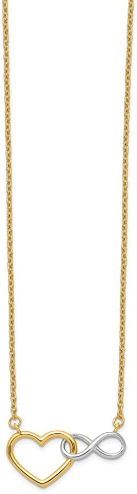 Mesa Mall 14k Yellow Gold White Heart Shipping included Symbol Chain Penda Infinity Necklace