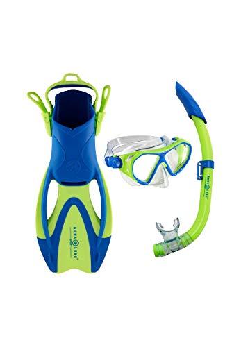 Aqua Lung Sport Unisex, Jugendliche Urchin Set bestehend aus Maske, Schnorchel und Flosse, Hellgrün/Hellblau, M