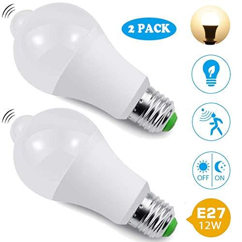 VAWAR 2 stuks LED-lamp met bewegingsmelder, PIR-sensor, 230 V, 12 W, E27, 3000 K - warm wit, 1020 lumen