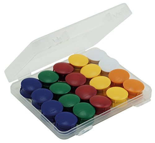 TimeTEX Set Haft-Magnete in Box - 40 Stück - je 8 Magnete in den Farben: gelb - rot - grün - blau - und je 4 Magnete in den Farben orange - weiß - - rund - starke Magnethaftung - 93338