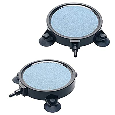 Uniclife 10cm Air Stone Disc Bubbler for Aquarium Hydroponics Fish Tank Air Pump – 2 Pack by Uniclife