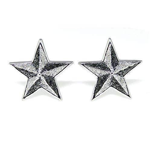 Chapado en oro blanco Acabado de plata esterlina Pendientes de botón con forma de estrella de diamante blanco negro