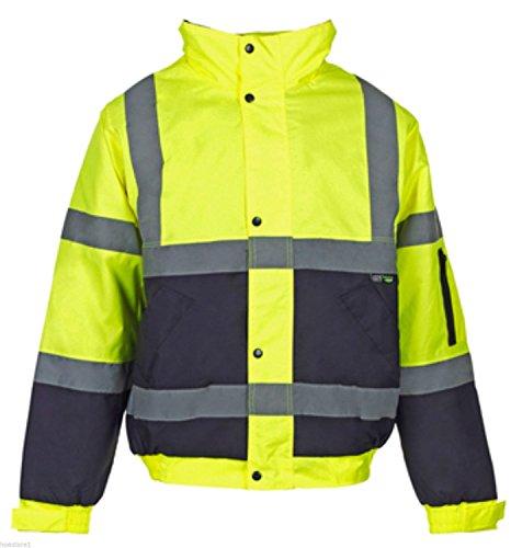 21Fashion 2 Deux Tons Hi Viz Bombardier Manteau Réfléchissante Veste Vêtements De Travail Rembourré Imperméable - Mens