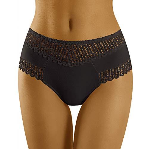 Wolbar Femme Slip Dentelle Ajourée Taille Haute WB416, Noir,2XL