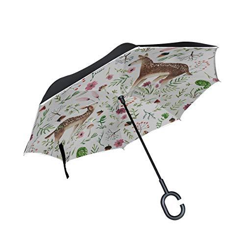 Double Layer Inverted Umbrella Winddichter Klapphirsch Mom and Deer Baby Reverse Regenschirme für Männer Klappstühle mit Regenschirm Winddichter UV-Schutz für Regen mit C-förmigem Griff