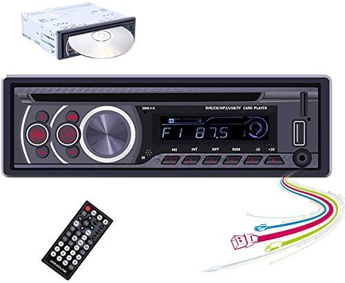 Autoradio con Lettore CD 1 Din CAMECHO Ricevitore FM Radio per Auto Singolo Din Vivavoce Bluetooth con USB Micro SD Lettore MP3 AUX con Telecomando, 4x50W