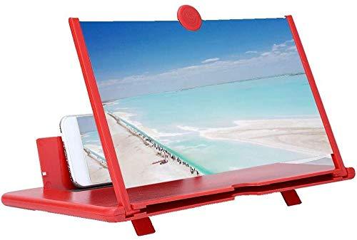 Fasient 12-Zoll-Telefonbildschirmverstärker, 3D-HD-Handybildschirmvergrößerer High Definition-Lupe Telefonhalterständer mit 3D-Bildschirmvergrößerung (rot)