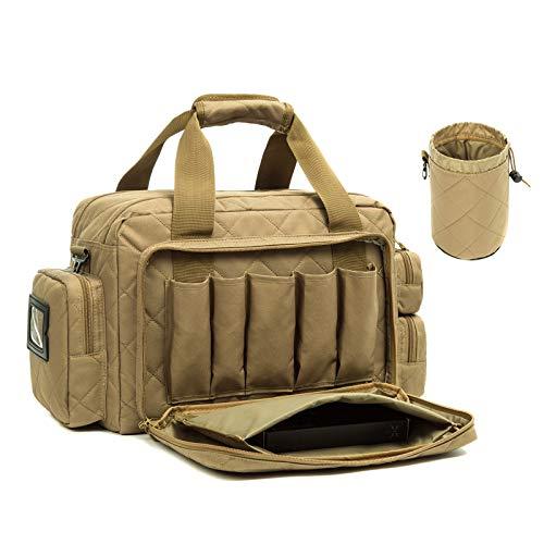 AUMTISC Taktisch Range-Bag Waffentasche-Pistolen Einsatztasche Pistolentasche - für Große Pistolen, Ladestreifen, Munition Zubehörtasche für die Jagd Schießstand Wettkampf Khaki
