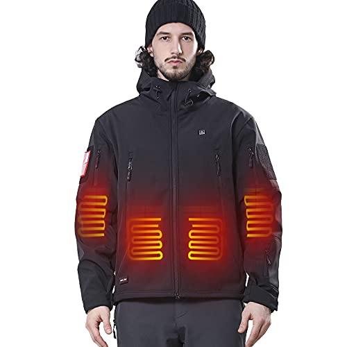 DEWBU Heated Jacket with Battery Pack Winter Outdoor Soft Shell Electric Heating Coat, Men s Black, XL