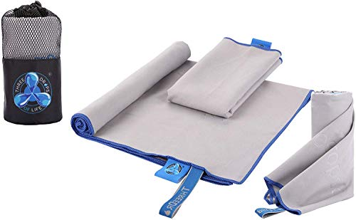 Microfiber Towel Variety Three Pack Set, Super Absorbent, Lightweight & Ultra Compact, Best for Gym, Camping, Hiking, Backpacking and Yoga Fitness (Gray)…