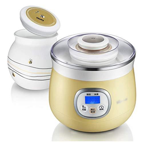 SCJ Joghurtmaschine, automatische kleine Reisweinmaschine mit Timing-Funktion, Fermentationsmaschine mit Porzellanglas, für Baby, Kinder (1L)