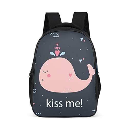 Kiss Me Whale Child's Schoolbags Large All Over Print Outdoor whale grey onesize