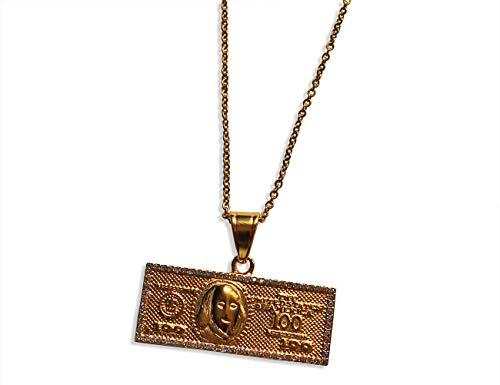 Bahnmüller Edelstahl Halskette Ø 2mm 40-75cm mit 100 Dollar Schein Anhänger 45 x 19mm in Gold (1492-2) (70)