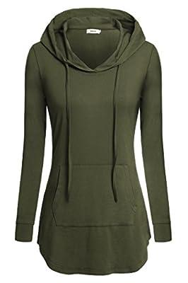 BEPEI Women Tunic Hoodies Long Sleeves Kangaroo Pocket Crewneck Dressy Shirts
