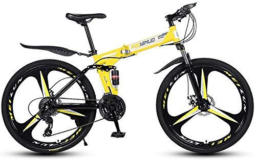 26 Pulgadas Plegable Bicicleta de montaña Marco de Acero 21/24/27 Velocidad de Nieve Bicicleta de Nieve Doble Disco Frenos MTB Bicicleta Variable de absorción de Choque Plegable-Amarillo_24speed