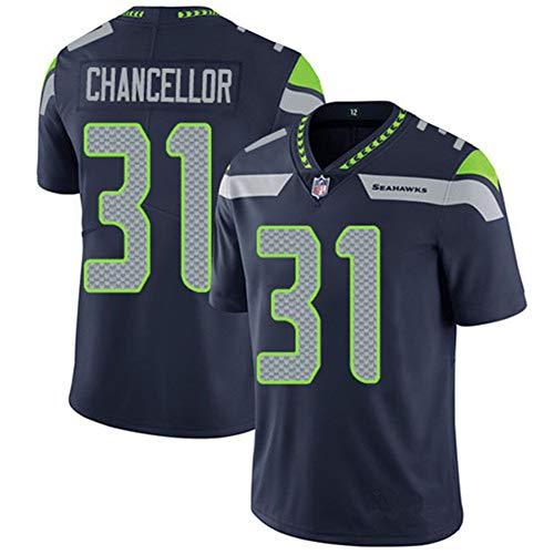 Herren T-Shirt American Football Uniform Seattle Seahawks Chancellor #31 Fußballtrikot Gruby Tee Shirts Gr. XL, navy