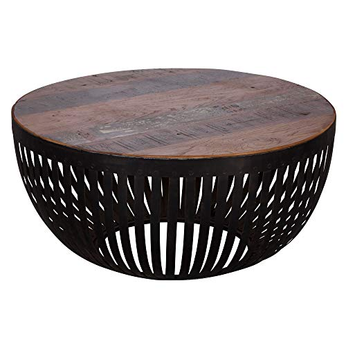Wohnling Couchtisch Nisha 70x33x70 cm Holz/Metall Wohnzimmertisch Industrial | Drahtkorb Tisch Wohnzimmer | Sofatisch mit Metallgestell | Clubtisch Loungetisch massiv | Design Stubentisch rund
