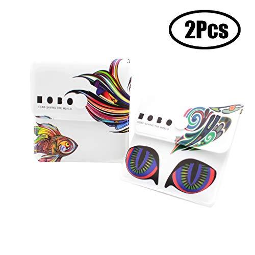 Xhuan 2 Aschenbecher Aschenbecher - Feuerfestes PVC - Geruchsneutral - Tragbares Kompakt - Einzigartiges Muster aus Regenbogenfischen und psychedelischen Katzen