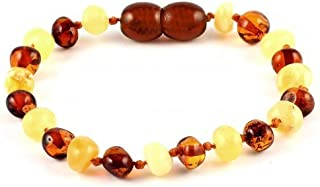 Baltic Amber Baby Teething Bracelet/Anklet Cherry Cognac Baroque BTB28 By Amber Corner