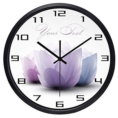 HIDFQY Reloj de Pared Grande Salon Lotus Redondo 12 Pulgadas B01B Reloj de Pared silencioso de Pared Decoración Ideal para la Casa Oficina Hotel
