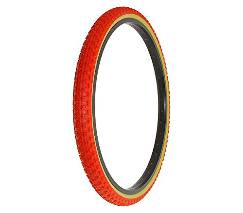"Alta Bicycle Tire Duro 26"" x 1.75"" Bike Tire Comp 3 Tread, Multiple Colors (Red/Gum Wall)"