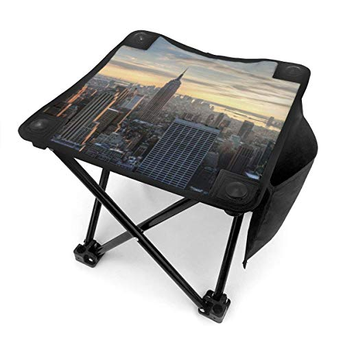 Camping Hocker New York City Evening Small Camping Stool Fishing Travel Outdoor Folding Stool Portable Oxford Cloth Slacker Stool with Side Pocket for Camping Walking Hunting Hiking Picnic Garden BBQ
