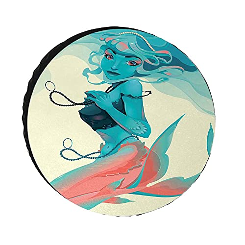 Mermaid Spare Tire Cover, Portrait of Gothic Style Mermaid with Makeup Mythology Fairytale Art Print waterproof Sun protection Wheel Protectors for Trailer RV SUV Truck Camper Travel Trailer,