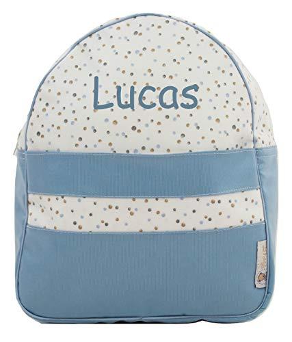 Der Rucksack, der Schulrazen, der Schultasche oder Kindergartentasche mit der Name personalisiert. Der Modell: Little Nordic (Tupfen Blau)
