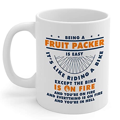 N\A Fruta Packer Regalos 11oz Taza de café de cerámica Blanca Hombres y Mujeres Paquete de Fruta