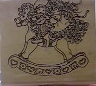 Riding Together - Girls Riding Together on Rocking Horse - Wood Mounted Rubber Stamp - #683-E