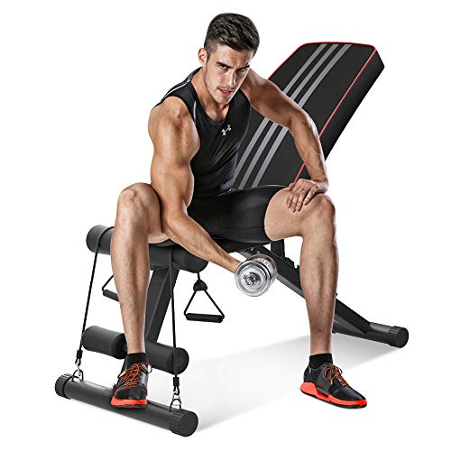 WEALLNERSSE Adjustable Bench,Utility Olympic Weight Bench for Full Body Workout Benchs- Multi-Purpose Strength Training Foldable incline/decline Bench Home Gym 2020 Version