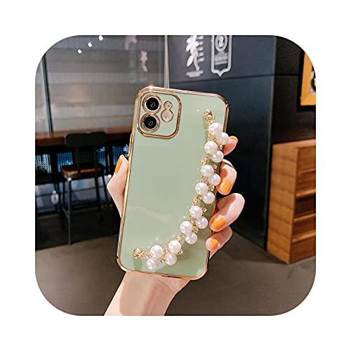 Suave perla pulsera teléfono caso para iPhone 11 12 Pro Max XS X XR 7 8 Plus Mini SE 2020 electrochapado parachoques contraportado-verde claro para iPhone 11