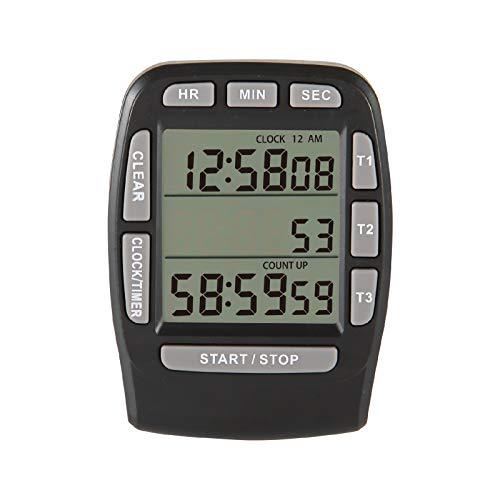 Jayron JR-KT001 Digital Timer Large LCD 3 Channel Digital Timer,Kitchen Timer,Count Down Up Timer Cooking Timer Reset Clock Alarm Loud Strong Magnet Bracket for Kids Elderly (black)